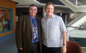 Ross Woodward with ABC Radio's Richard Stubbs during a recent campaign on health issues